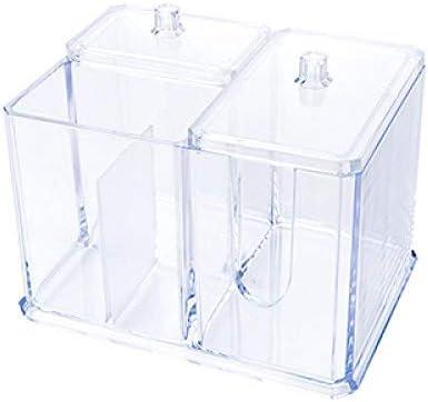 RUIXIANG Transparenter Organizer Halter Wattestäbchen Box Make-up Pads Aufbewahrungsbox Desktop Organizer Schmuck Fall für Kosmetik durchsichtig