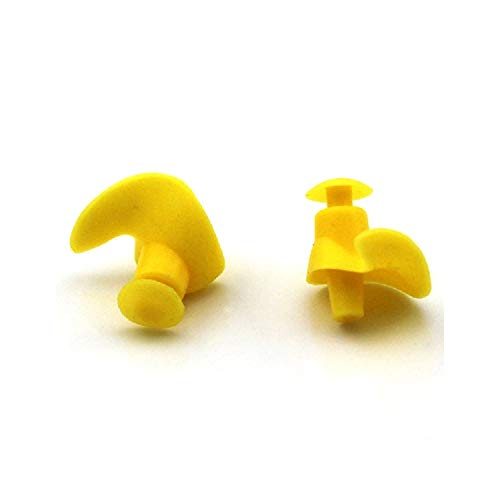 1 Pair Soft Ear Plugs Waterproof Swimming Silicone Swim Earplugs for Adult Swimmers Children Diving Soft Anti Noise Ear Plug,Yellow