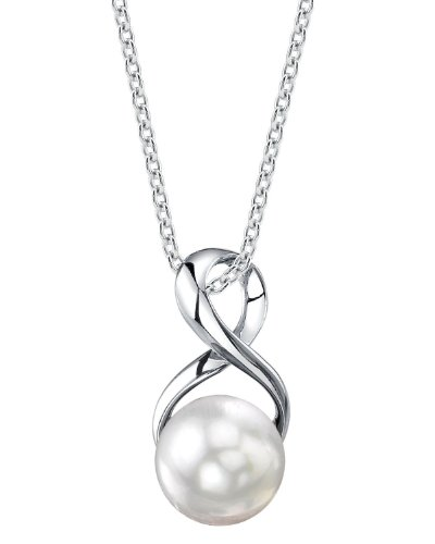 THE PEARL SOURCE 9-10mm Genuine White Freshwater Cultured Pearl Infinity Pendant Necklace for Women -