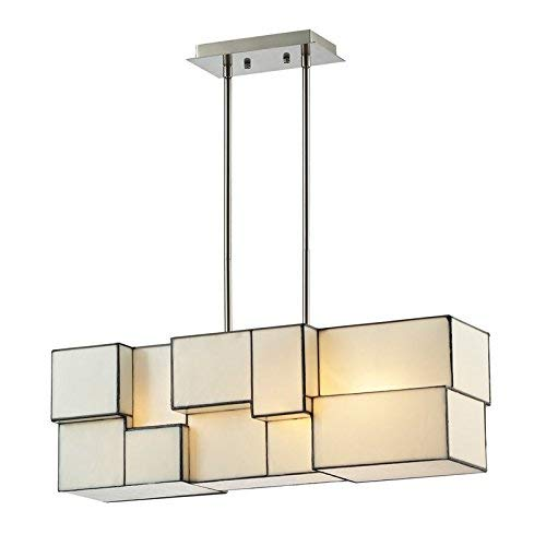 "Elk Lighting 72063-4 Cubist Collection 4 Light Chandelier, 27"" x 27"" x 9"", Brushed Nickel"