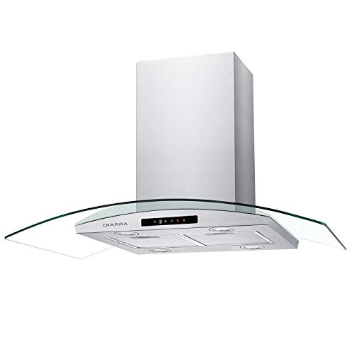 CIARRA Range Hood 36 Inch Island Mount 450 CFM Touch Control Stainless Steel Kitchen Vent Hood with Exhaust Pipe Ductless/Ducted Filter 4 LED Lamps (Silver, Glass)
