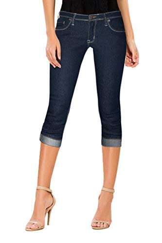 HyBrid & Company Women's Perfectly Shaping Stretchy Denim Capri-Q22885X-BLUE BLACK-22