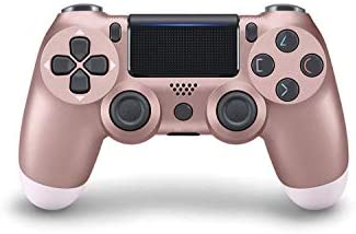 Game Controller - Wireless Gamepad for PS4/PS4 Pro/PC and Laptop with Vibration and Audio Function, Mini LED Indicator, High-Sensitive Controller with Anti-Slip(Rose Gold)