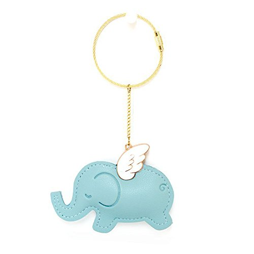 U Leather Flying Animal Wire Key Ring 6'' Funny Key Chains Luggage Tag Loops ID Tag Keepers Cable Key Rings String Twist Barrel (Light Blue, Flying Elephant) ()