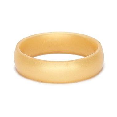 SafeRingz, the Original Metallic Silicone Wedding Ring, Beveled Gold, 8