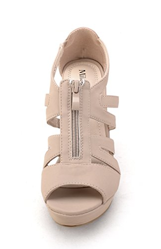 6d3f8a8e0d6 Mila Lady Lisa 5 Strappy Open Toe Platform Wedges nude 8.5 - Buy ...