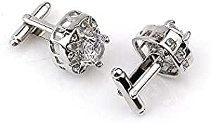 Men's Cufflinks Zircons Inlay Round Shape Exquisite Shining Decorative Cuff Buttons Accessory