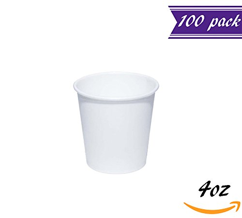 (Set of 100) 4-Ounce Espresso Paper Cups, Plain White Disposable Cups, To go Espresso Shot Cups