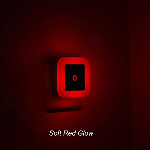[Pack of 2] Iavo Plug In LED Red Night Light with Dusk to Dawn Sensor-Perfect for Bedroom, Nursery and Baby's Room