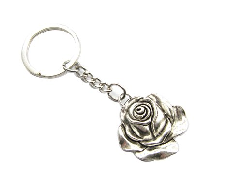 Keychain Key Ring Flower - Ancient Silver Rose Flower Keychain, Rose Flower Keyring, Rose Charm Keychain, Rose Keyring