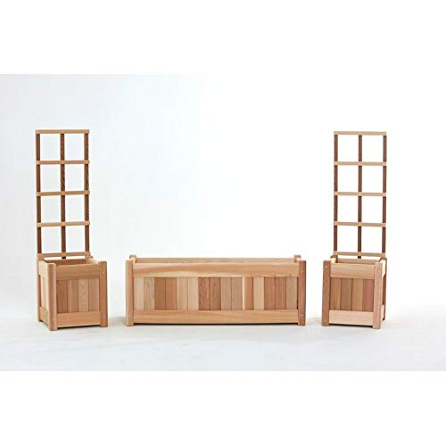 All Things Cedar 3 Piece Red Cedar Planter Box Set with Trellis+ Free Basic Design Concepts Expert - Box Planter Cedar Red