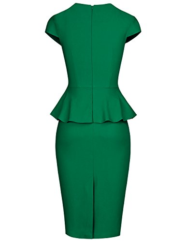 Waist Vintage Cap Green Pencil Dress Work MUXXN Women's Style Peplum Sleeve 6AxwYPq