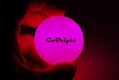 GoBright Pink LED Light Up Golf Balls - Ultra Bright Glow in The Dark Night Golf Balls (Pack of 6) -