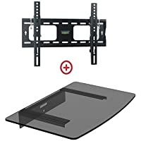 Mount World 952T43 Low Profile LCD LED Plasma TV Tilt Wall Mount with Bundle Single Glass shelf of Cable Box DVD Player Stereo Components for Most 22 to 42 (VESA 100x100 200x100 200x200 300x300 400x200 400x300) LCD LCD of SONY Samsung Vizio Toshiba Panasonic Sharp RCA Dynex Element Emerson Haier Hitachi Olevia Sanyo Magnavox Mitsubishi Zenith Westinghouse Insignia Proscan