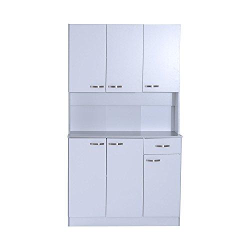"HomCom 71"" Buffet Server Microwave Storage Cabinet Hutch- White"
