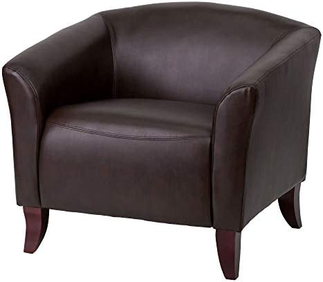 Delacora 111-1-BN-GG Delacora FF-111-1 34″ Wide Leather-Blend Low Back Accent Chair