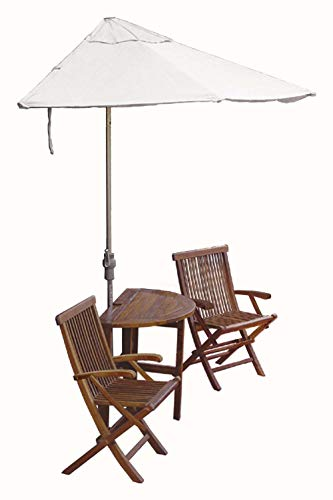 Blue Star Group Terrace Mates Caleo Premium Table Set w/ 9'-Wide OFF-THE-WALL BRELLA - Natural Olefin - Umbrella Wall Olefin Natural