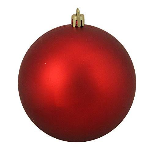 (Northlight Shatterproof Matte Red Hot UV Resistant Commercial Christmas Ball Ornament, 4