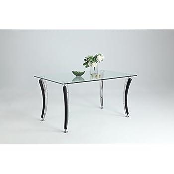 Milan Yvette DT Clear/Black Rectangular Dining Table