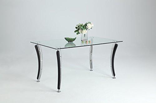 Milan YVETTE-DT Clear/Black Rectangular Dining Table