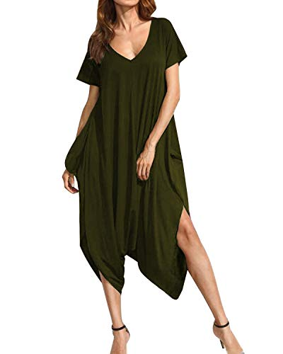 Auxo Womens Harem Jumpsuit One Piece V Neck Summer Short Sleeve Jumper Romper Playsuit Y-Army Green L