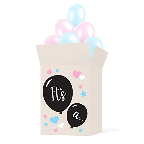 Gender Reveal Box With Balloons (Gender Reveal Box Sticker Kit - Decorate Your Own Balloon Box - Use with Gender Reveal Balloon - Great For Baby Shower Party Supplies, Decorations, Accessories and)