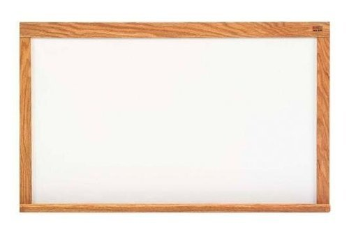 Marsh Pro-Lite 48''x120'' Beige Porcelain Markerboard, Red Oak Wood Trim by Marsh