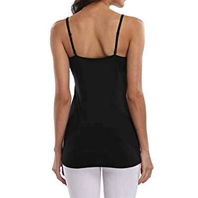 BeautyIn Women's Cotton Camisole with Shelf Bra Adjustable Spaghetti Strap Tank Top Cami Tanks at Women's Clothing store