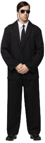 Fun World Men's Plus Size Black Suit Complete, Black/White, Plus Size Costume