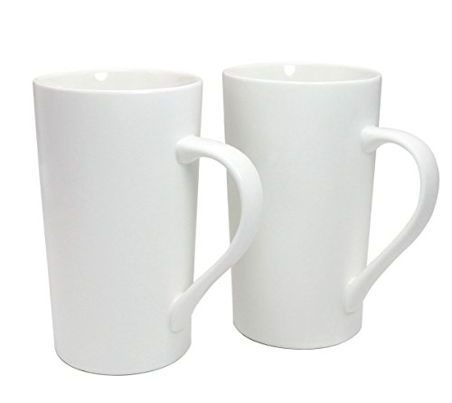 Momugs 20 OZ Simple Pure White Mug (Set of 2) Plain Large Tall White Ceramic Milk Tea Coffee Mug with Handle as A Gift for Dad Mom Friends, 2pcs