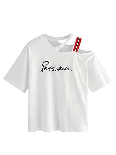 MakeMeChic Women's Summer Striped One Shoulder Letter Embroidered Tee Shirt White M