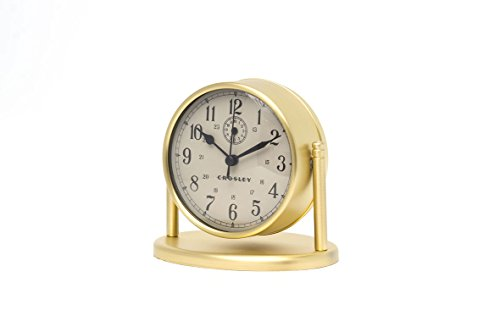 Crosley Nautical Alarm Clock for Desk Side Table and Night Stand, All Metal Case with Dome Glass Lens, Adjustable Viewing Angle, Simple Operating Controls, Brass - Nautical design great for desk or bedside All metal construction Antique Bronze finish - clocks, bedroom-decor, bedroom - 31kIwh0x1tL -