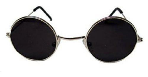 John Lennon Style Sun Glasses Shades Silver Frame/Black Lens ()