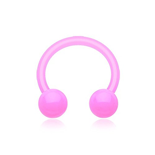 Circular Barbell Body Jewelry (Pink UV Acrylic Flexible Shaft Horseshoe Circular Barbell (14G, L: 3/8