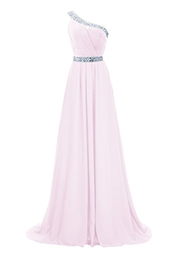 Shoulder Chiffon Beaded Pink Evening Prom One Party Long Dress Anlin Gown Bridesmaid AN91 14qAwaZ6