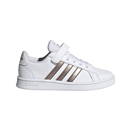 adidas Unisex Grand Court Sneaker, White/Copper Metallic/Glow Pink, 1.5 M US Little Kid (Adidas Vintage Sneakers)