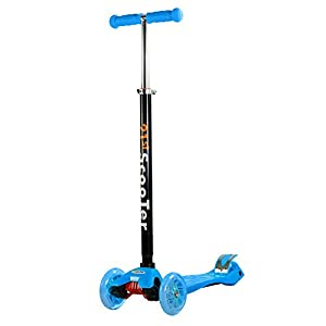 3 Wheel Blue Kick Scooter Street Smooth Ride For Kids Adjustable T-Bar Wheel Height Up To 130 LB