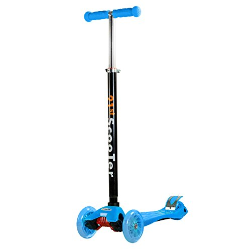 3 Wheel Blue Kick Scooter Street Smooth Ride For Kids Adjustable T-Bar Wheel Height Up To 130 (Blue 3 Wheel)