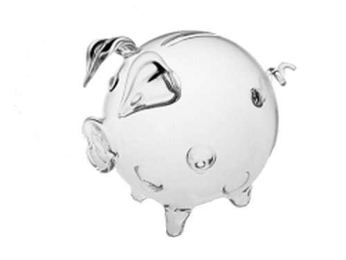 Crystal Bank (Collectible Figure Rare Mouth Blown Piggy Bank of Clear Crystal Glass Decorative Pig of Glass Diameter Approx 8 Cm Oberstdorfer Glashütte)