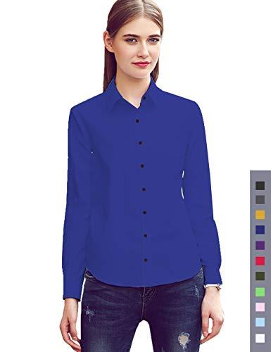 diig Women Dress Shirt - Long Sleeve Cotton Button Down Blouse, Blue 12