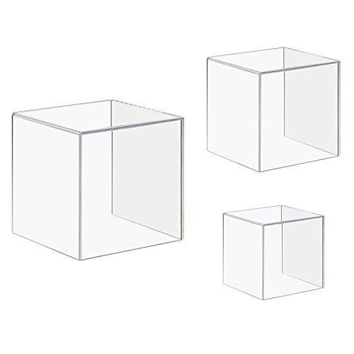 CRUODA Acrylic Display Case,3x3x3&4x4x4&5x5x5, 3pc, display box,4 Sided Acrylic Cube,Museum Box Case, Jewelry Book Showcase ()