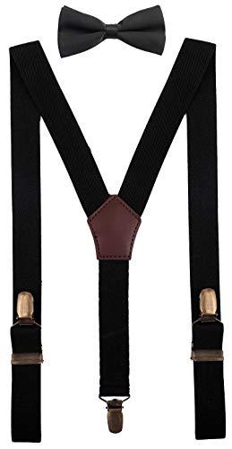 YJDS Kids Black Suspenders and Bowtie Set Adjustable Strong Clips -
