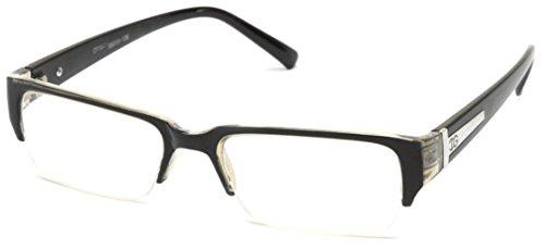 Newbee Fashion - Aliz Unisex Clear Lens Sleek Half Frame Slim Temple Fashion Glasses Black/Grey