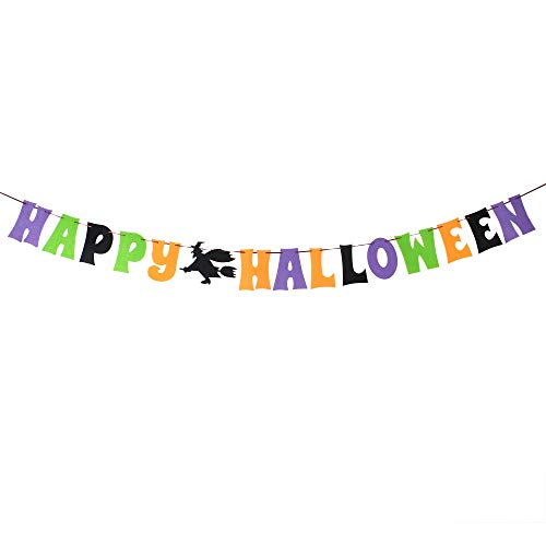 (Happy Halloween Witch Nonwoven Banner Outdoor Indoor House Garden Photo Prop Sign)