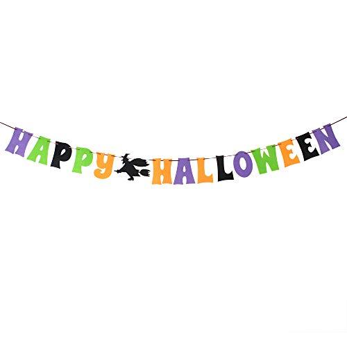 Happy Halloween Witch Nonwoven Banner Outdoor Indoor House Garden Photo Prop Sign Decoration. ()