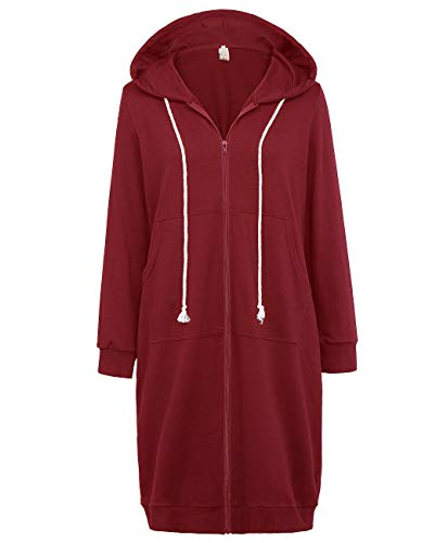 GRACE KARIN Women's Warm Long Hoodie Sweatshirt Jackets Wine Red Size L CL612-4 ()