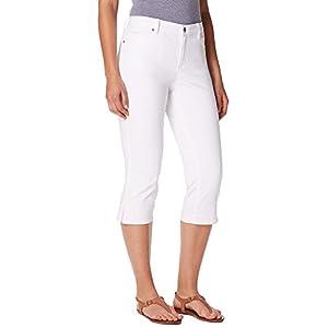 Gloria Vanderbilt Womens Jordyn Embellished Capris 12 Shell white