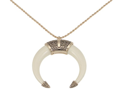 Alilang Womens Boho Tribal Native American Inspired Crescent Moon Bull Horn Bone Pendant (Tribal Horn Necklace)