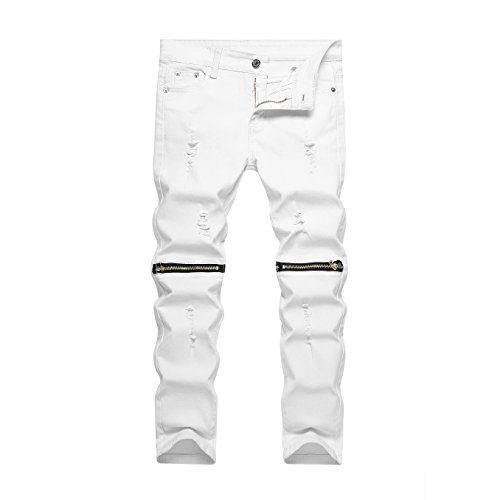 (IA ROD CA Boy's Slim Skinny Ripped Distressed Zipper Fit Jeans Pants White 10 with Holes)
