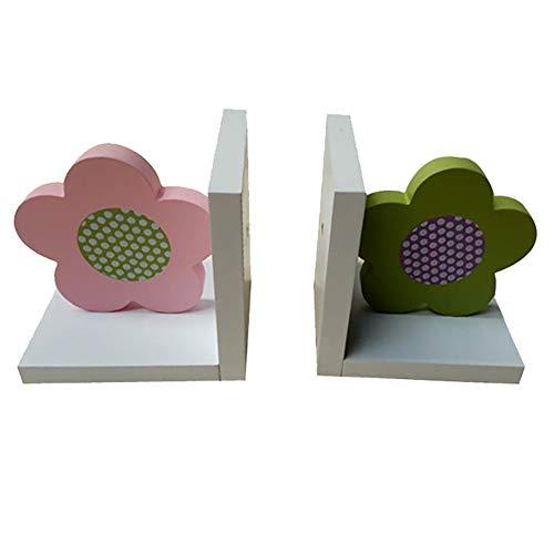 Nerien Wooden Children's Cartoon Flowers Bookends for Boys or Girls Nursery or Bedroom (Set of 2)